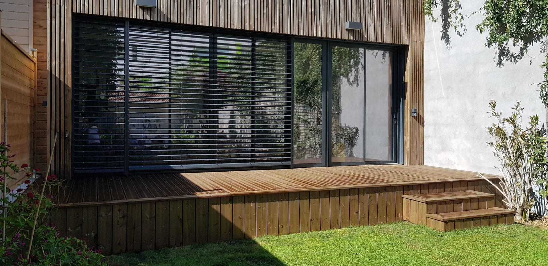 Maison Ossature Bois Bordeaux réhabilitation et extension bois d'une maison de ville à
