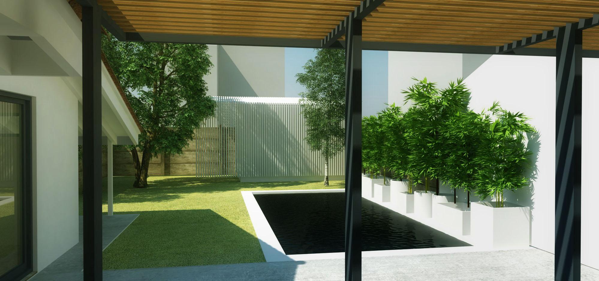 Construction d'un bungalow, d'une piscine et aménagement d'un jardin à Bordeaux