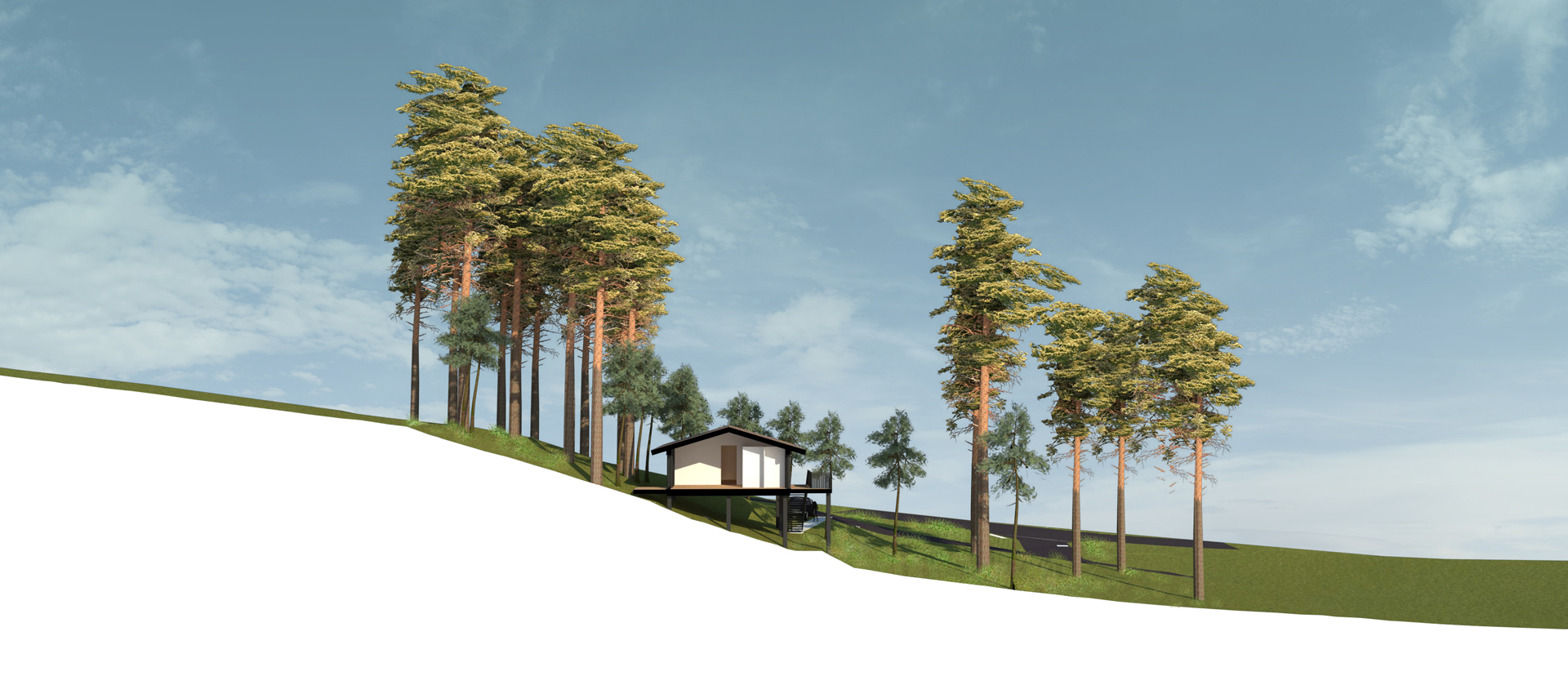 coupe sur terrain, villa ossature bois à Biscarosse