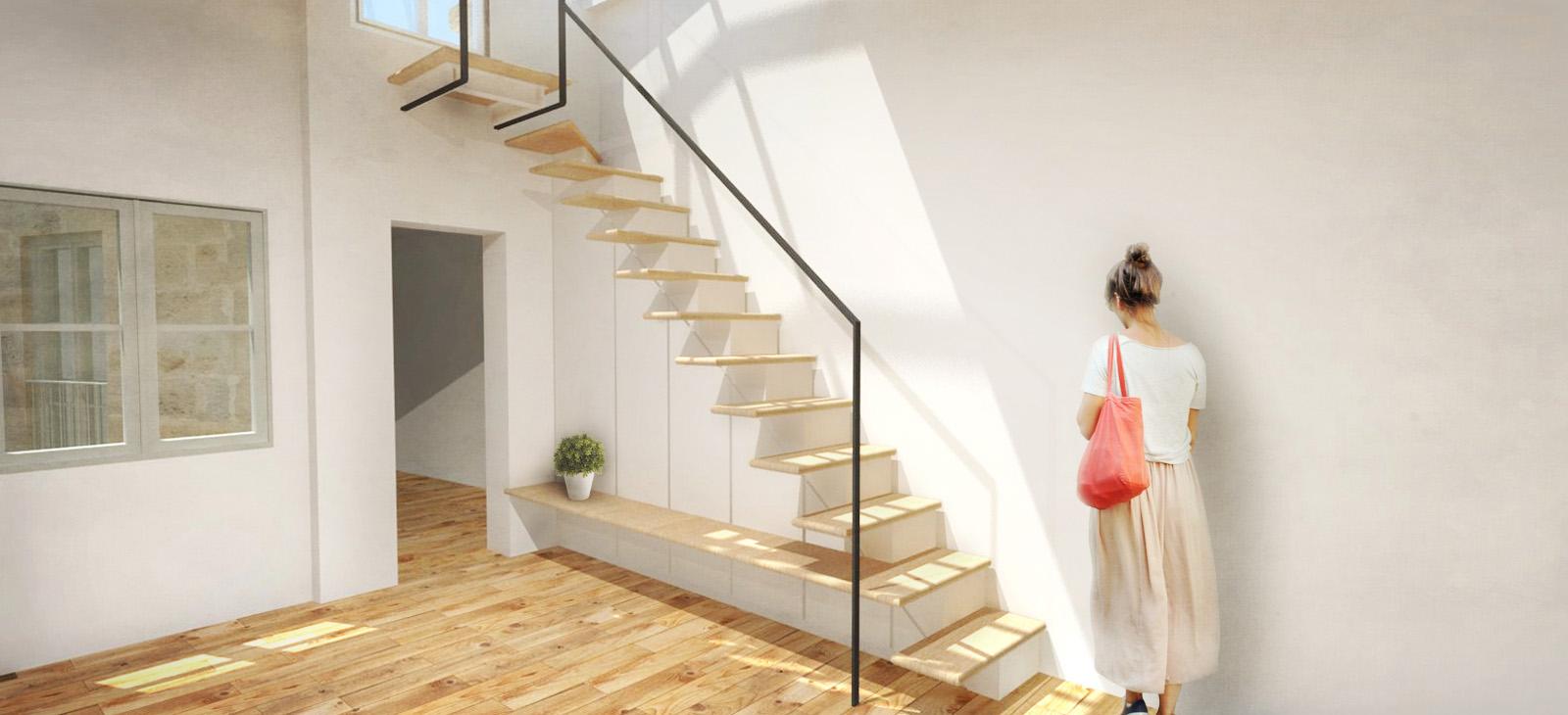 réhabilitation et surélévation création d'un meuble escalier