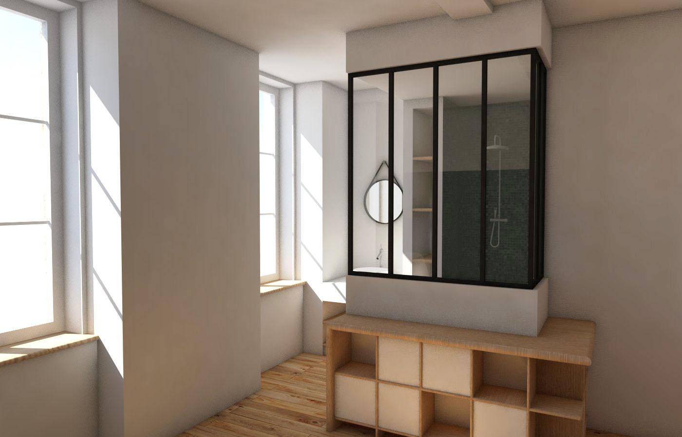 réhabilitation maison pierre, aménagement chambre et salle de bain