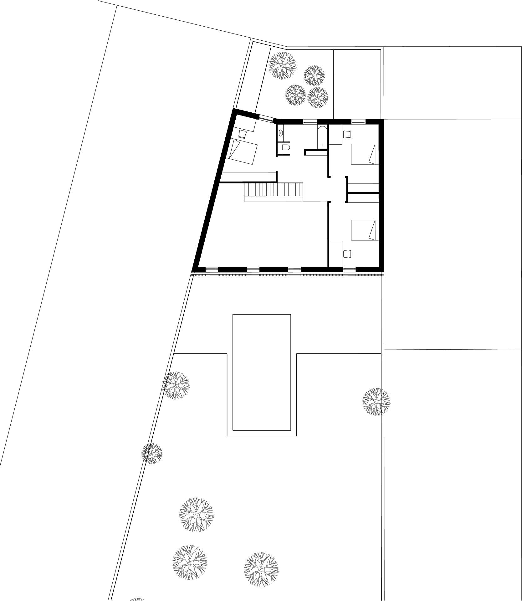 Plan premier étage maison atypique à Talence
