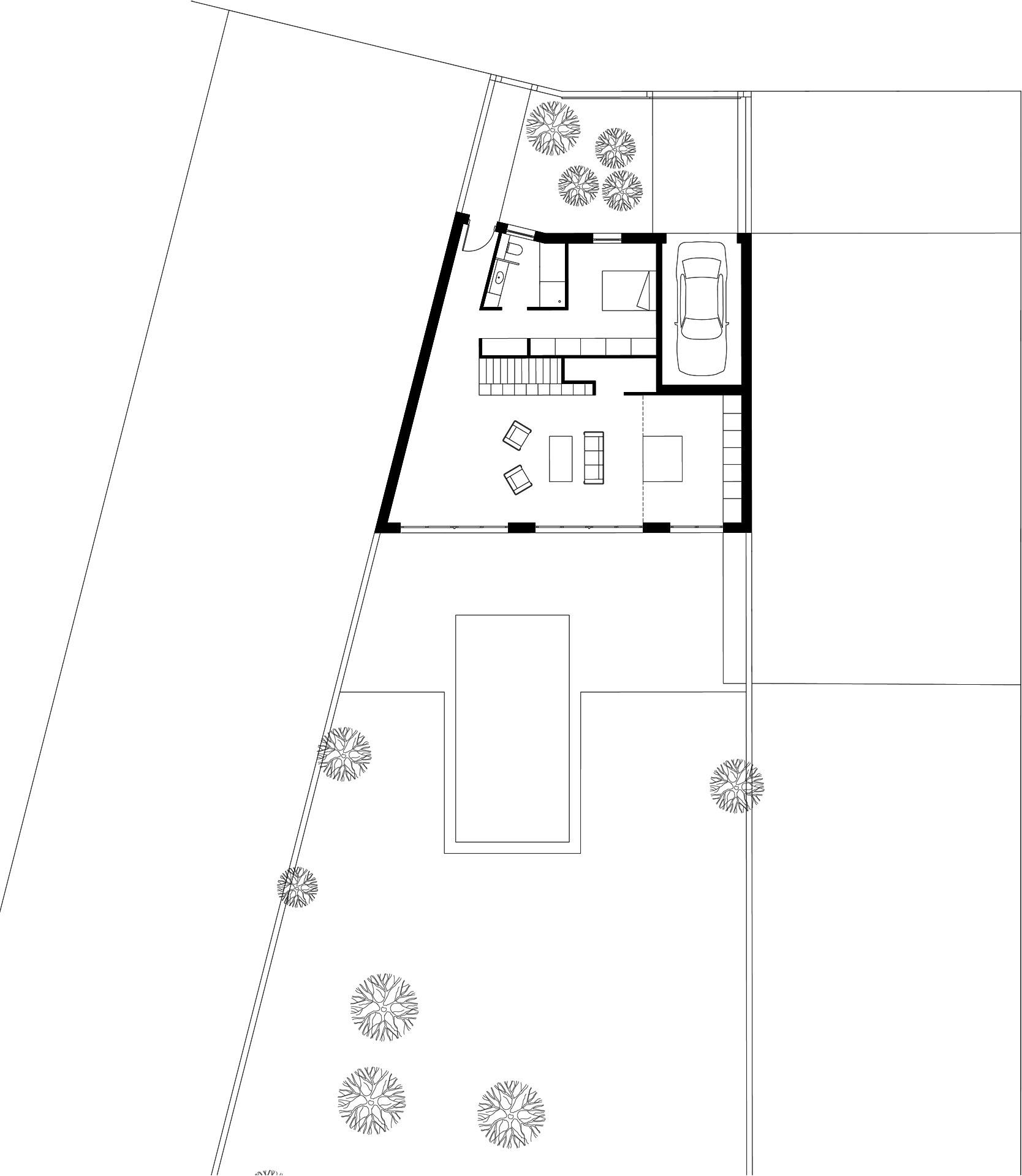 Plan rez-de-chaussée maison atypique à Talence