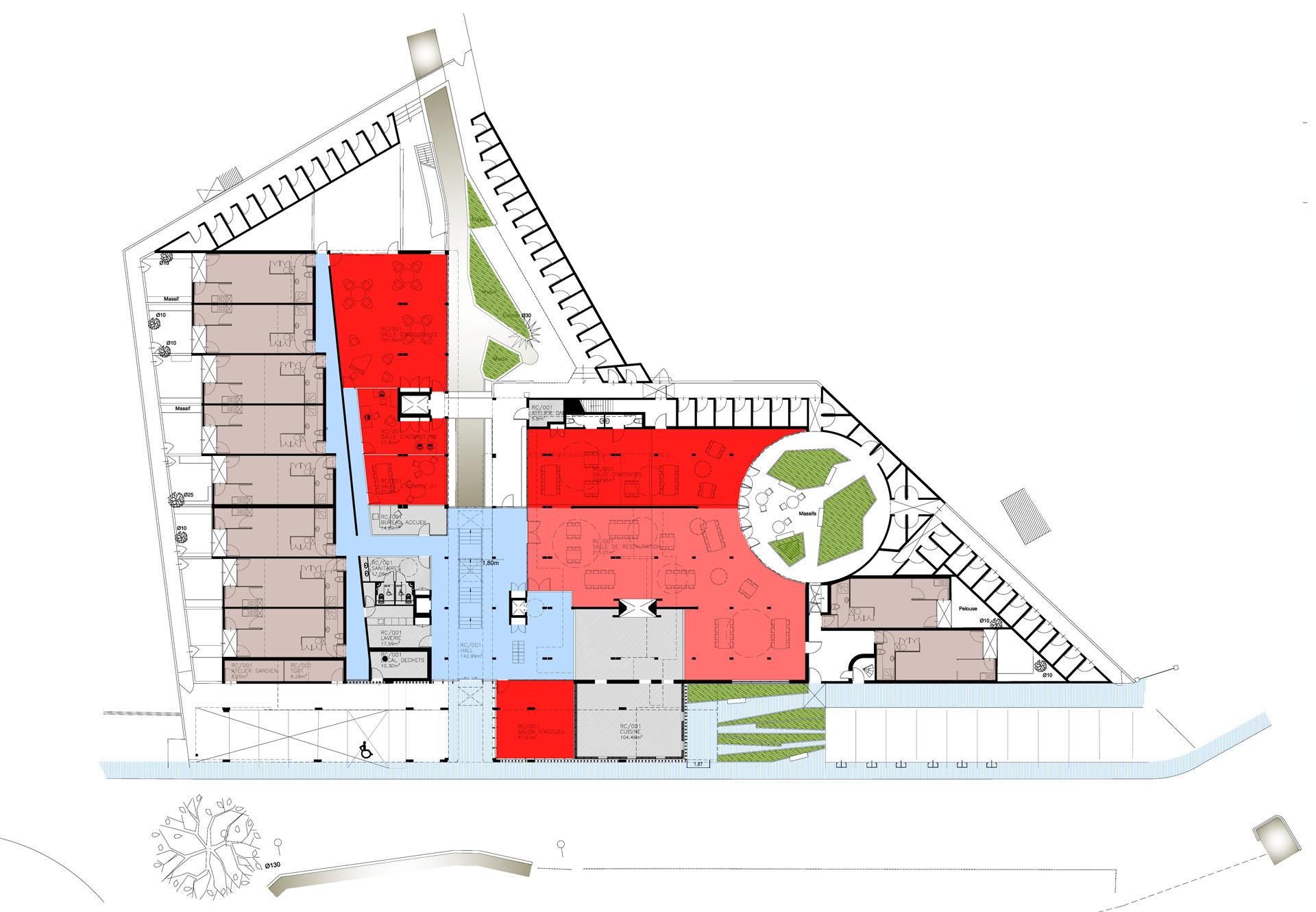 Plan du niveau RDC - EHPA La Teste