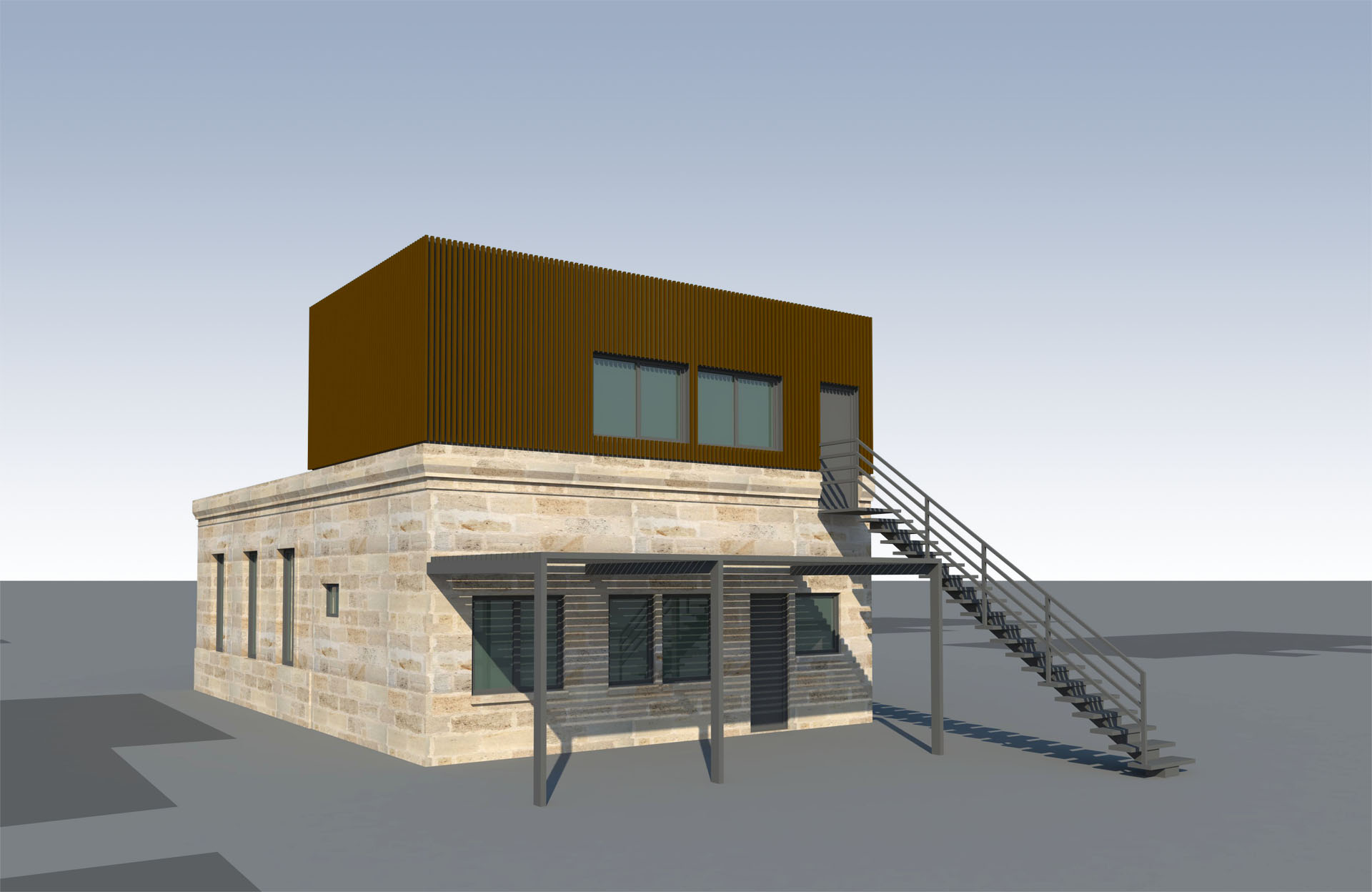 extension et sur l vation de maison bordeaux par architecte architectes roode arag es. Black Bedroom Furniture Sets. Home Design Ideas